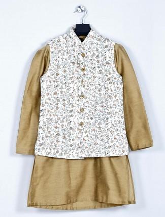 Stand collar khaki waistcoat set