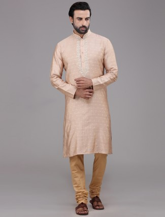 Stand collar peach silk kurta suit