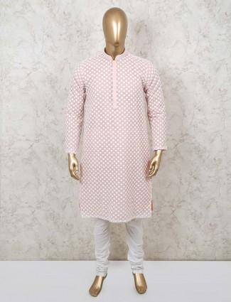 Stand collar pink cotton kurta suit