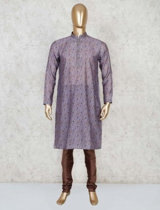 Stand collar purple cotton printed kurta suit