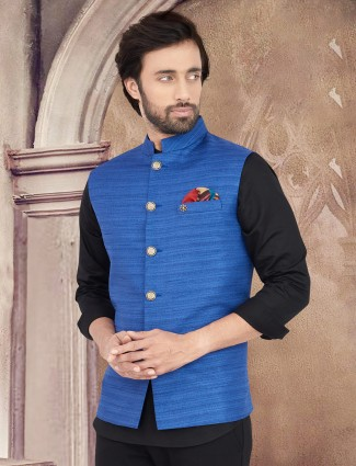 Stand collar royal blue solid cotton silk waistcoat