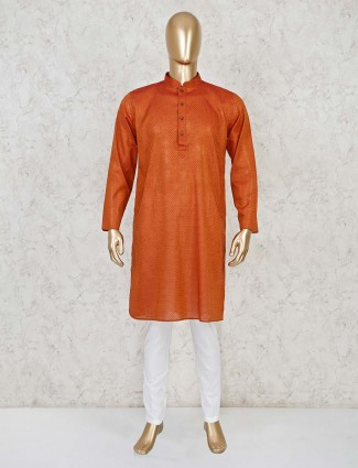 Stand collar rust orange cotton kurta suit