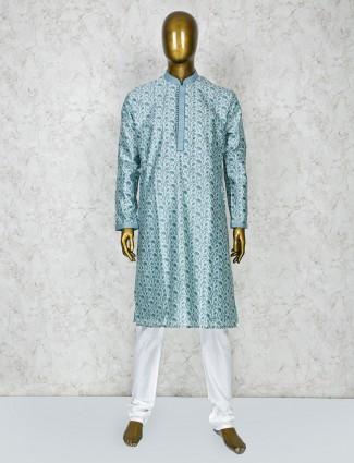 Stand collar sky blue color cotton silk kurta suit