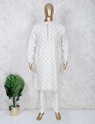 Stand collar white cotton kurta suit