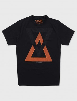 Status Quo black slim fit cotton t-shirt