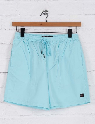Status Quo cotton slim fit aqua shorts
