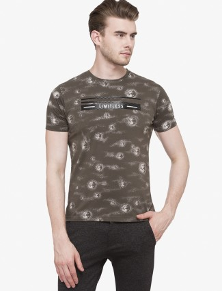 Status Quo olive color printed t-shirt