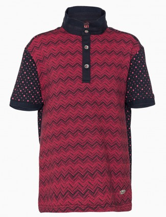 Status Quo red black printed polo cotton casual boys T shirt