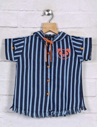 Stilomoda attractive navy stripe cotton top