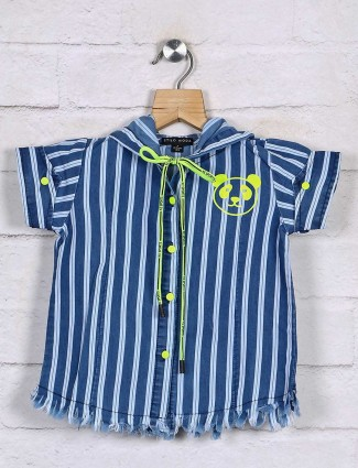 Stilomoda attractive royal blue stripe cotton top