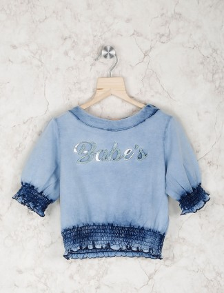 Stilomoda blue cotton casual top