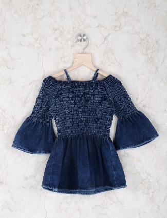 Stilomoda blue cotton casual wear top