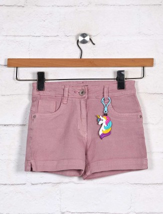 Stilomoda denim casual wear shorts in pink