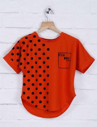 Stilomoda rust orange cotton casual top