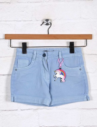 Stilomoda sky blue denim solid casual shorts