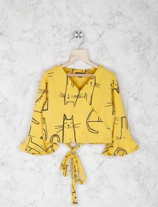 Stilomoda yellow printed cotton top