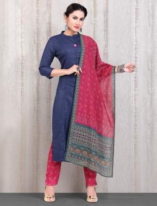 Straight cut punjabi pant suit in navy cotton