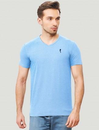 Stride aqua hued v neck casual t-shirt