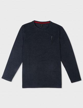Stride black solid cotton t-shirt