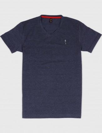 Stride dark grey slim fit solid t-shirt