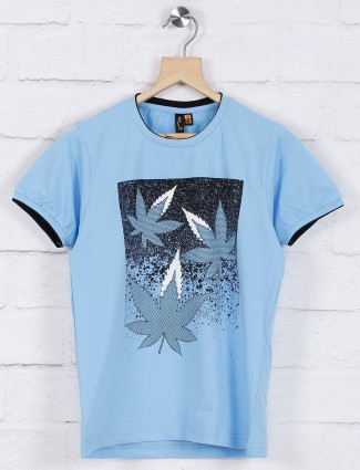 Stride light blue color printed t-shirt