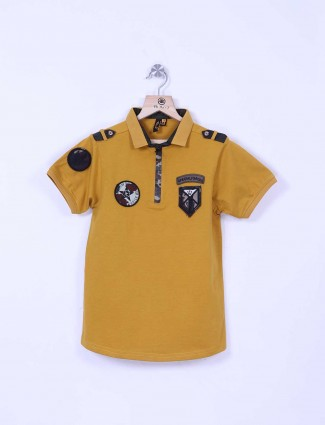 Stride mustard yellow color solid t-shirt