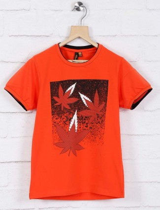 Stride orange printed cotton fabric t-shirt