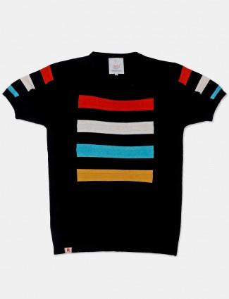 Stride printed black cotton t-shirt