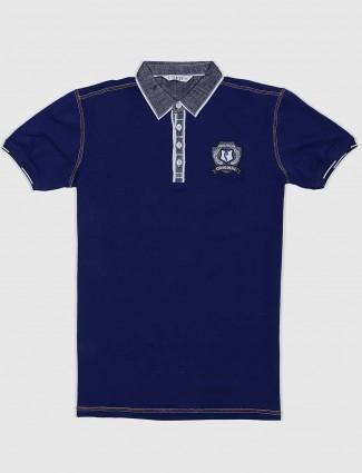Stride royal blue solid slim fit t-shirt