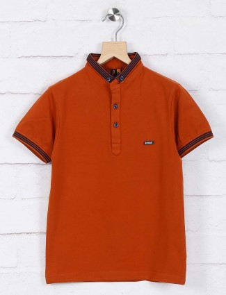 Stride rust orange solid boys t-shirt