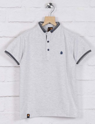 Stride solid grey casual wear t-shirt