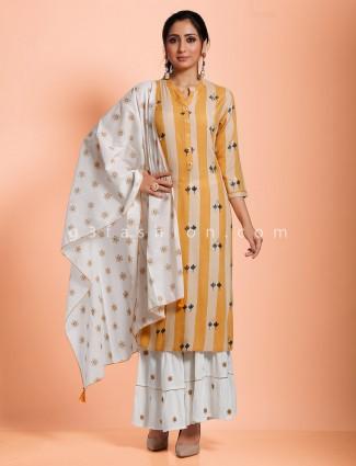 Stripe beige cotton sharara set in casual