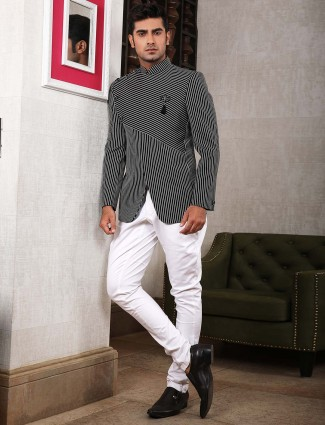Stripe black hue terry rayon jodhpuri suit