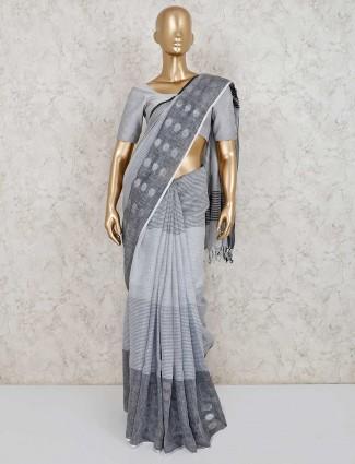 Stripe design grey linen saree