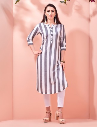 Stripe grey cotton casual wear kurti
