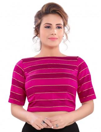 Stripe magenta pink readymade cotton silk blouse