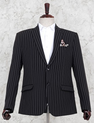 Stripe pattern black hue terry rayon blazer