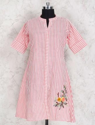 Stripe pattern pink hue cotton kurti