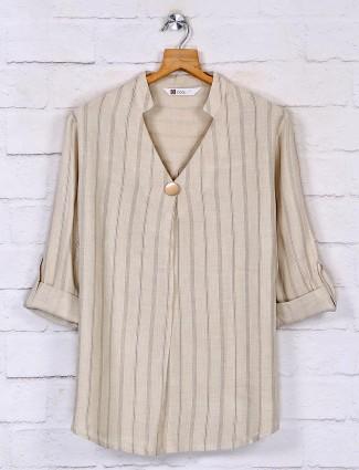 Stripe top design for women in beige