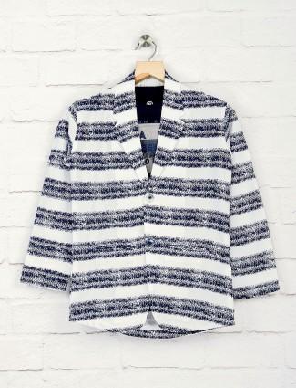 Stripe white and blue hue blazer