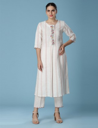 Stripe white color linen kurti
