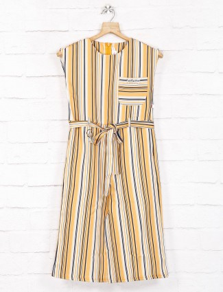 Stripe yellow cotton casual frock