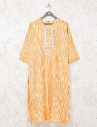 Stripe yellow cotton kurti
