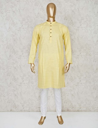 Stripe yellow cotton stand collar kurta suit