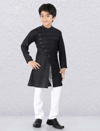Stunning black pleated festive wear kurta suit