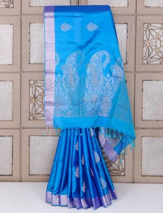 Stunning blue color silk saree