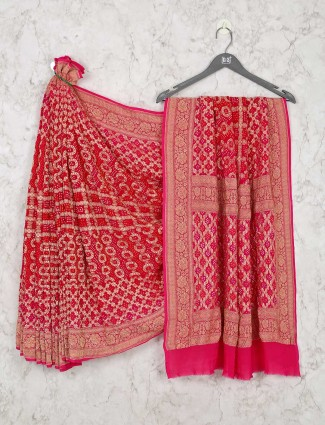 Stunning Red Bandhej Saree For Weddings Events