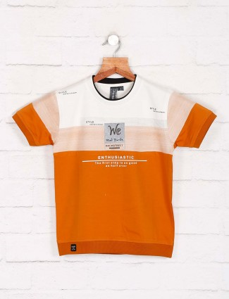 Sturd casual wear orange printed t-shirt