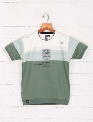 Sturd green printed slim fit t-shirt