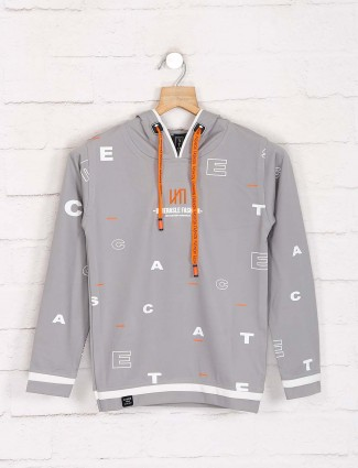 Sturd grey casual cotton printed hoodie
